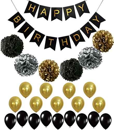 BLACK and GOLD PARTY DECORATIONS - Perfect Adult Birthday Decorations | Happy Birthday Banner | Black,Gold Balloons and Paper Pom Poms | Party Supplies for 30th, 40th, 50th, 60th Birthday Decoration