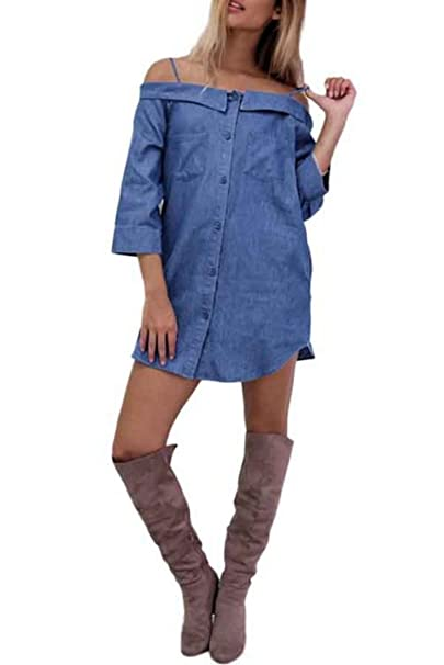 704d4ae5f6ad Doris Women s Denim Chambray Off The Shoulder Shirt Dress at Amazon ...