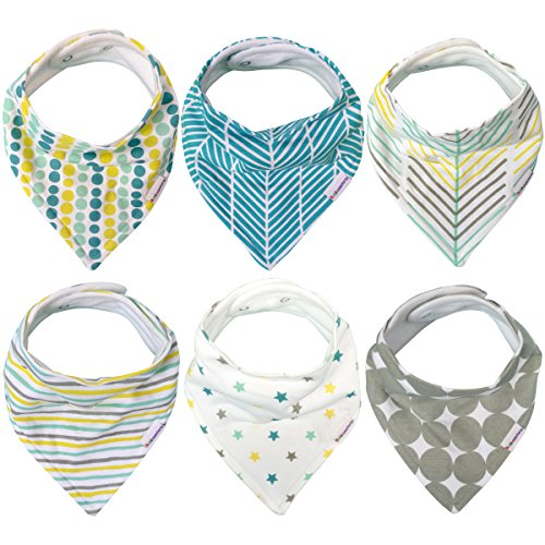 Absorbent Baby Bandana Drool Bibs for Boys & Girls, 6 Pack Gift Set, 100% Organic Cotton Fronts