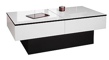 Berlioz Creations Amelie Table Basse Panneaux De Particules Blanc Brillant Noir 113 X 60 X 40 Cm