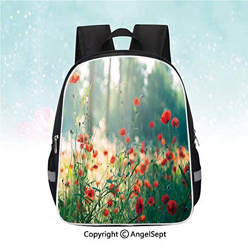 Nylon Fabric Backpack,Wild Red Poppy Flowers Field Summertime Sunbeams Gardening Bedding Plants,13