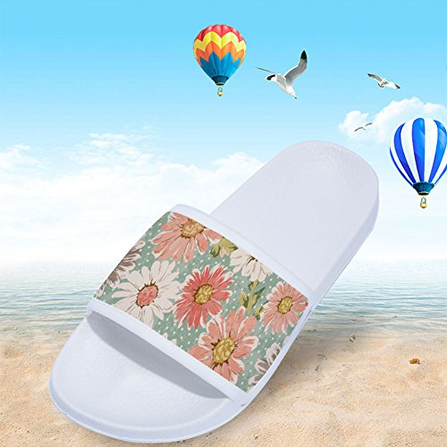 Blanco Patrón para con de Secado Flores Antideslizantes Zapatillas de Rápido Mujer Rosas RnBxWPP