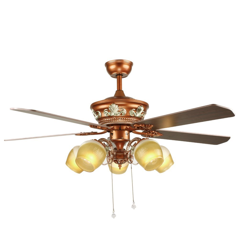 Tropicalfan Vintage Ceiling Fan With 5 Light Cover Pull Chain Decorative Hotel Home Living Room Silent Fans Chandelier 5 Wood Blade 52 Inch Yellow