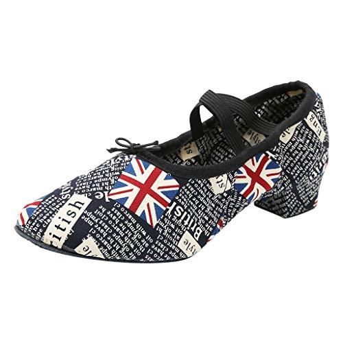 Yucode Women Dance Shoes Mid Heels Sandal Criss Cross Soft Ballet Rumba Waltz Prom Latin Yoga Shoes Black]()
