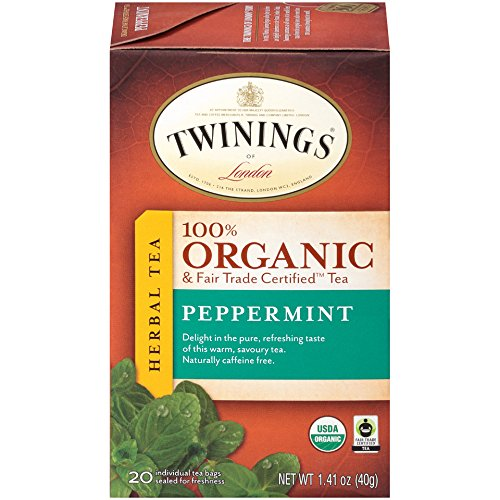 (Twinings of London Organic and Fair Trade Certified Peppermint Herbal Tea individual tea bags, 20 Count)