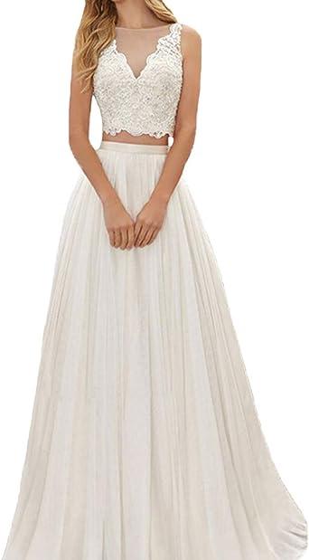 Amazon Com P L X Ladies Appliqued Lace Two Piece Wedding Dresses Garden Bridal Gowns Clothing