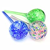 Lautechco 3pcs 200ml Water Ball Plant Automatic Watering Glass Bulbs Flower Drip Irrigation Tools (Random Color)