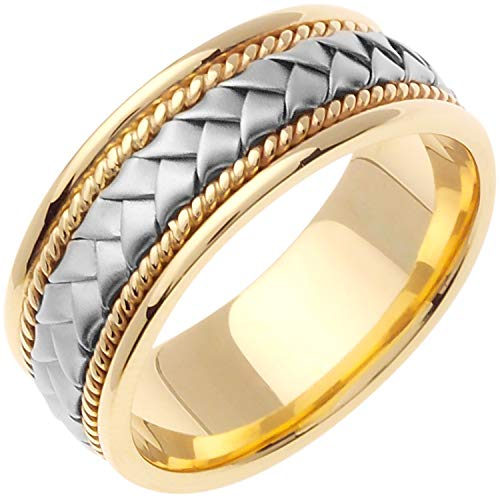 14k Two-tone (Yellow and White) Gold Braided Basket Women's Comfort-fit Wedding Bands (8.5mm) Size-5.5