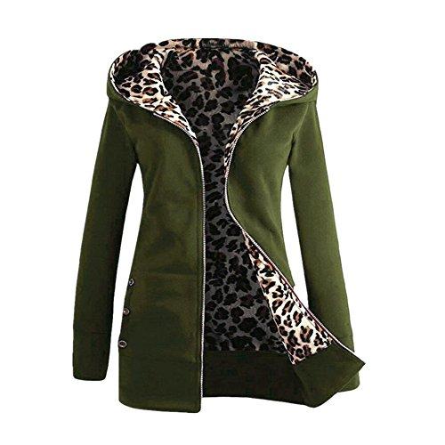 Ejercito Mujeres Familizo Invierno Capucha Outwear Sudadera Con Gruesa Más Calentar Abrigo Leopard Verde SxPwdqUxT