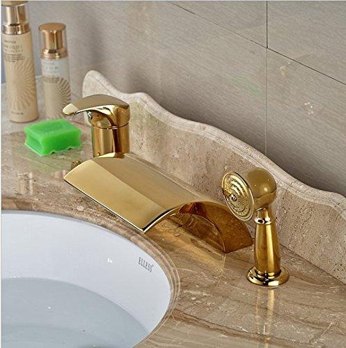 GOWE Modern Golden 3pcs Widespread Bathroom Waterfall Tub Filler Faucet Hand Shower Set Mixer Taps 0