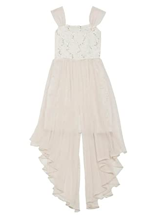 8bd1dfe3c186 Amazon.com: Rare Editions Big Girls Taupe and Ivory Lace Sequin Dress:  Clothing