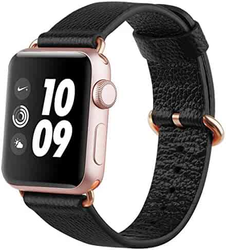 Apple Watch Band 38mm, amBand Premium Genuine Leather iWatch Replacement Strap with Rose Gold Modern Buckle and Metal Clasp for Apple Watch Series 2 Series 1 Sport & Edition Black