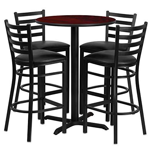 (Flash Furniture 30'' Round Mahogany Laminate Table Set with 4 Ladder Back Metal Barstools - Black Vinyl)