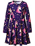 Long Sleeve Unicorn Dresses for Little Girls Cotton Fall Clothes