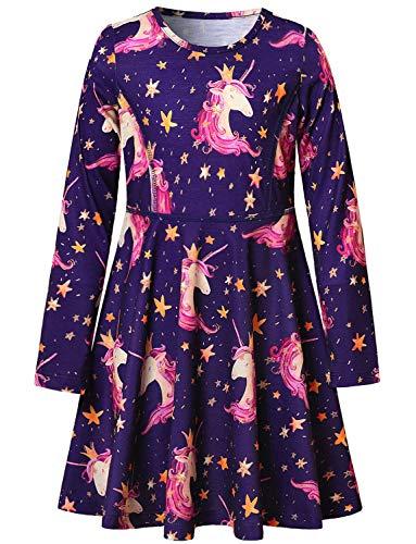 Navy Blue Girls Unicorn Dresses Long Sleeve Casual Cotton -