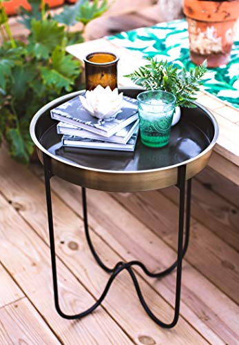 H Potter Indoor Outdoor Side Patio Table Living Room Kitchen Small Spaces Quick Folding Stand and Removable Round Metal Tray for Drinks or Appetizers Gar618 Brass