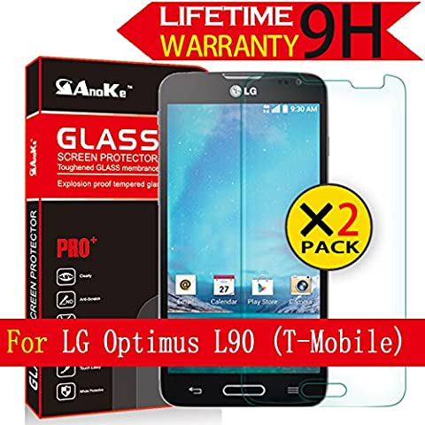 LG Optimus L90 D415 Glass Screen Protector, [2 Pack] AnoKe(0.3mm 9H 2.5D) Best Tempered Glass Screen Protector Film Shield Guard For LG Optimus L90 D415 Glass - (Lg D415 Phone Case For Girls)