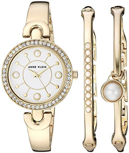 Anne Klein Women's Swarovski Crystal Accented Watch and Bangle Set, AK/3288