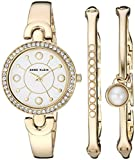 Anne Klein Women's AK/3288GBST Swarovski Crystal Accented Gold-Tone Watch and Bangle Set