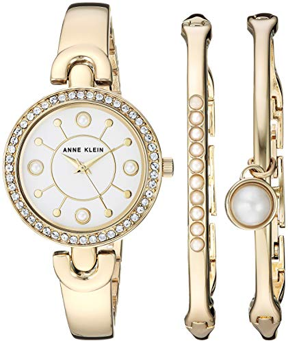Anne Klein Women's Swarovski Crystal Accented Gold-Tone Watch and Bangle Set, AK/3288GNST