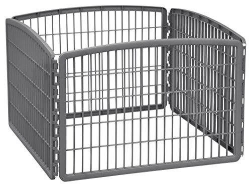 (IRIS 24'' Exercise 4-Panel Pet Playpen without Door, Dark)
