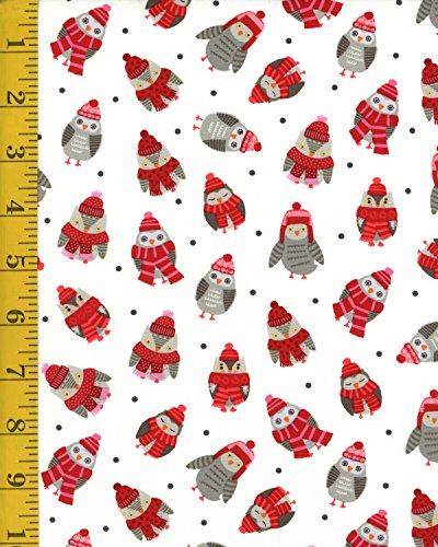 (Quilt Shop Fabric - Studio E Fabrics Snow Delightful Tossed Owls - White)