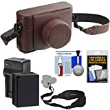 Fujifilm LC-X100F Leather Camera Case for X100F (Brown) with NP-W126 Battery & Charger + Strap + Kit