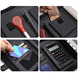 Leather Portfolio,izBuy Resume Business Organizer Note Pad Folder with Foldable Handle, Letter Size, Equipped with Business Card Page, Binder Pockets, Calculator and Security Combination Lock (Black)