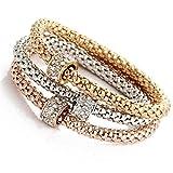 BSGSH Women 3pcs Charm Bracelet Heart/Butterfly/Musical Note/Lock Key Dangle Pendant Rose Gold Rhinestone Bangle Jewelry Set (Multicolor | C)