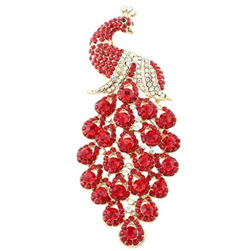 Ruby Brooch Pendant - EVER FAITH Austrian Crystal Elegant Peacock Bird Animal Brooch Pendant Red Gold-Tone