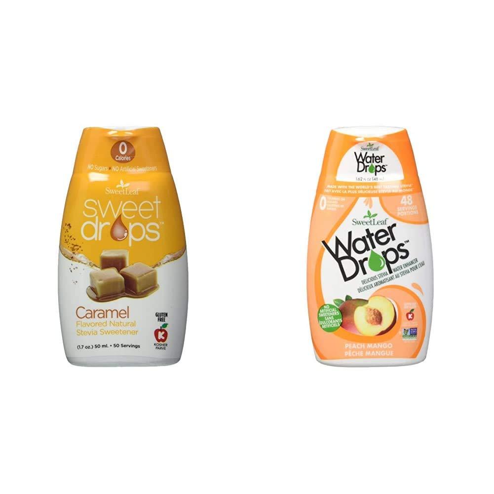 Sweetleaf Sweet Drops Liquid Stevia Sweetener, Carmel, 1.7 Ounce & Waterdrops, Peach Mango, 1.62 Fl Oz (Pack of 1)