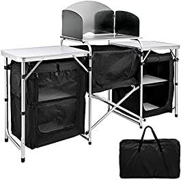 VBENLEM Tier Kitchen 2 Side 3 Zippered Bags, Portable Camping Cook Table for Outdoor Activities, Black