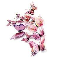 DaGou Mixed of 12PCS 3D Pink Butterfly Wall Stickers Decor Art Decorations