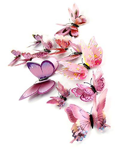 DaGou Mixed of 12PCS 3D Pink Butterfly Wall Stickers Decor Art Decorations