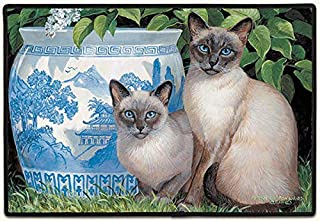 product image for Fiddler's Elbow China Blue Siamese Cats Doormat Rug Home Decor