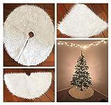 "Mangadua Plush Christmas Tree Skirt Party Decoration,Ivory (78cm/30.4"")"