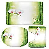 3 Piece Bath Mat Rug Set,Spa-Decor,Bathroom Non-Slip Floor Mat,Orchid-Flowers-with-Bamboo-Branches-in-Vibrant-Colors-Spiritual-Practice-Theme,Pedestal Rug + Lid Toilet Cover + Bath Mat,White-Green