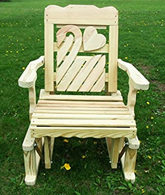 Pressure Treated Pine Designs Unfinished Outdoor Swan Cutout Glider Chair