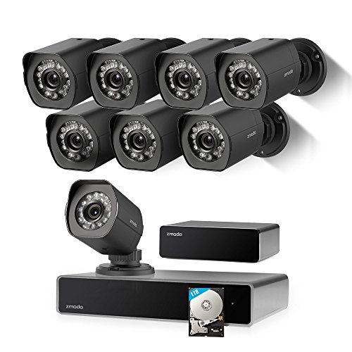 Zmodo Full HD 1080p Simplified PoE Security Camera System w/Repeater, 8 x 2.0 Megapixel IP Outdoor Surveillance Camera, 8CH HDMI NVR and 1TB Hard Drive Full Hd 1080p