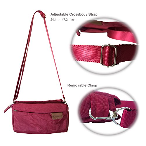 FanCarry Travel Lightweight Burgundy Crossbody small Nylon Bag Waterproof Outdoors Purse Satchel r4Hrafq
