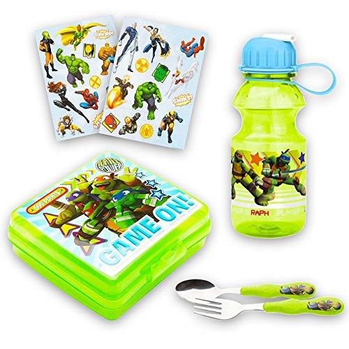 Teenage Mutant Ninja Turtles Toddler Dinnerware Set - TMNT Food Container, Water Bottle, Flatware, Stickers (Teenage Mutant Ninja Turtles) ()