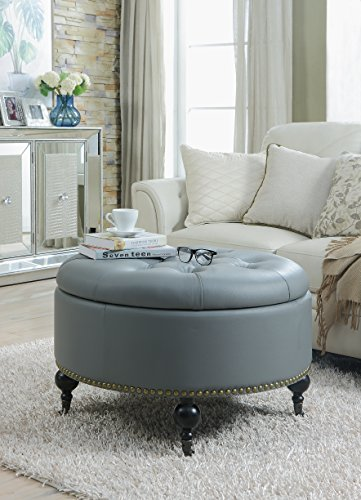 Button Round Gold (Iconic Home FON2598-AN Grey Mona PU Button Tufted with Gold Nail Head Trim Castered Legs Round Ottoman)