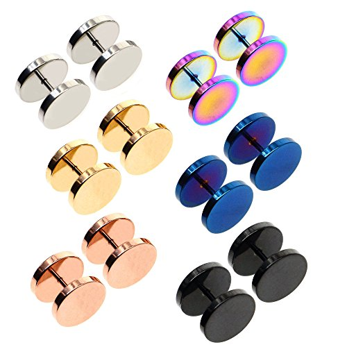 Awinrel Mens Womens Stud Earrings Fake Plugs Cheater Illusion Ear Gauges Tunnel Stainless Steel 6 Pairs Size 12mm