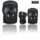 GIORO Youth/Adult Knee Pads and Elbow Pads Set with Wrist Guard Safety Protective Gear Set for Multi Sports Protection Skateboarding,Ice Skating,BMX Bike,Inline Roller Skating,Longboarding(Black, L)