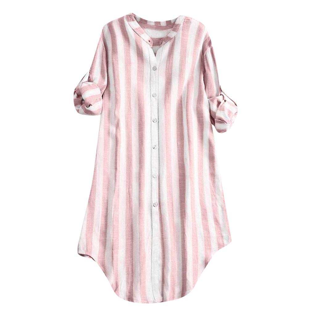 Dainzuy Women's T Shirts Loose Fit Cotton Plus Size Button Up Pullover Striped Long Sleeve Tops Tees Tunic Blouse Pink by Dainzuy Women Tops
