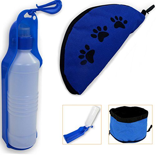 Dog Water Bottle with Collapsible Dog Bowl by FluffyPal - Keep Your Dog Hydrated While You Are Outdoors Or Traveling - Perfect Travel Dog Water Bottle and Travel Dog Bowl Set