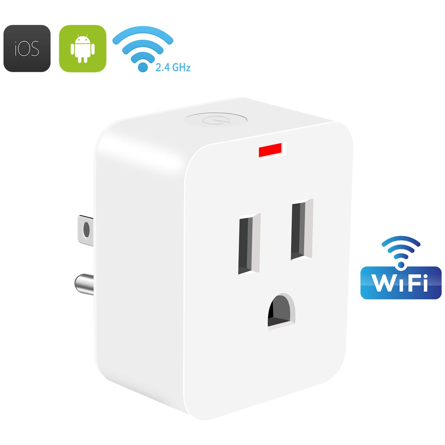 WiFi Smart Plug,POWERIVER Mini Wireless Outlet Energy Save Timing Function Socket Compatible with Amazon Alexa Control Devices from Anywhere or Anytime and No Hub Required (white)