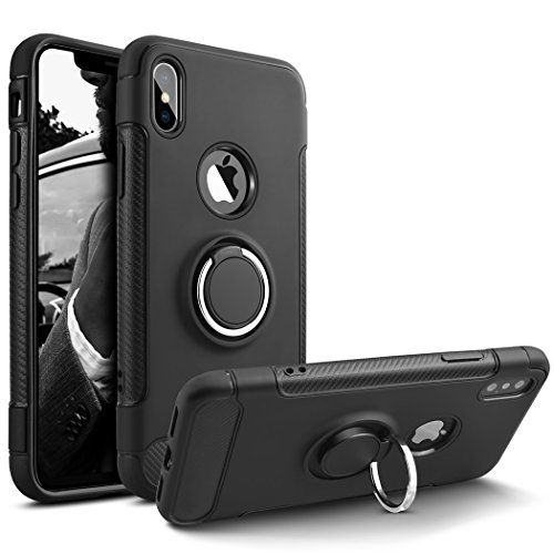 - Phone Case Compatible iPhone Xs,iPhone X, Heavy Duty Protection Soft Cover Case with 360° Swivel Ring Kickstand Shock Absorption Durable Flexible Full Protective Compatible,iPhone X, yJb37