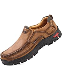 Mens Slip On Loafers Lightweight Leather Casual Walking Shoes