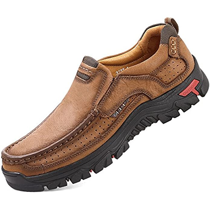 ALITIKAVIC Mens Slip On Casual Shoes Leather Comfortable Walking Loafers